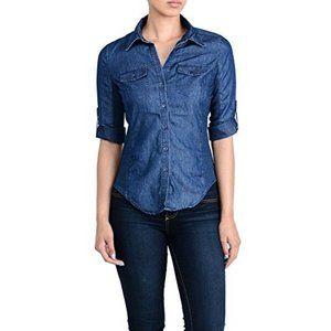 Cavalini chambray button down blouse size PXL